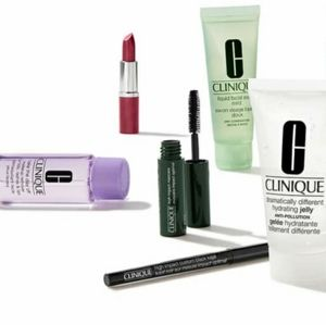 Clinique product samples and makeup case